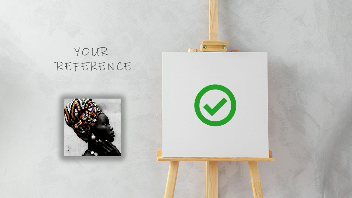 Image of a reference next to a canvas demonstrating how to plan your artwork so the dimensions of your reference fit the size of the canvas or paper you are working on
