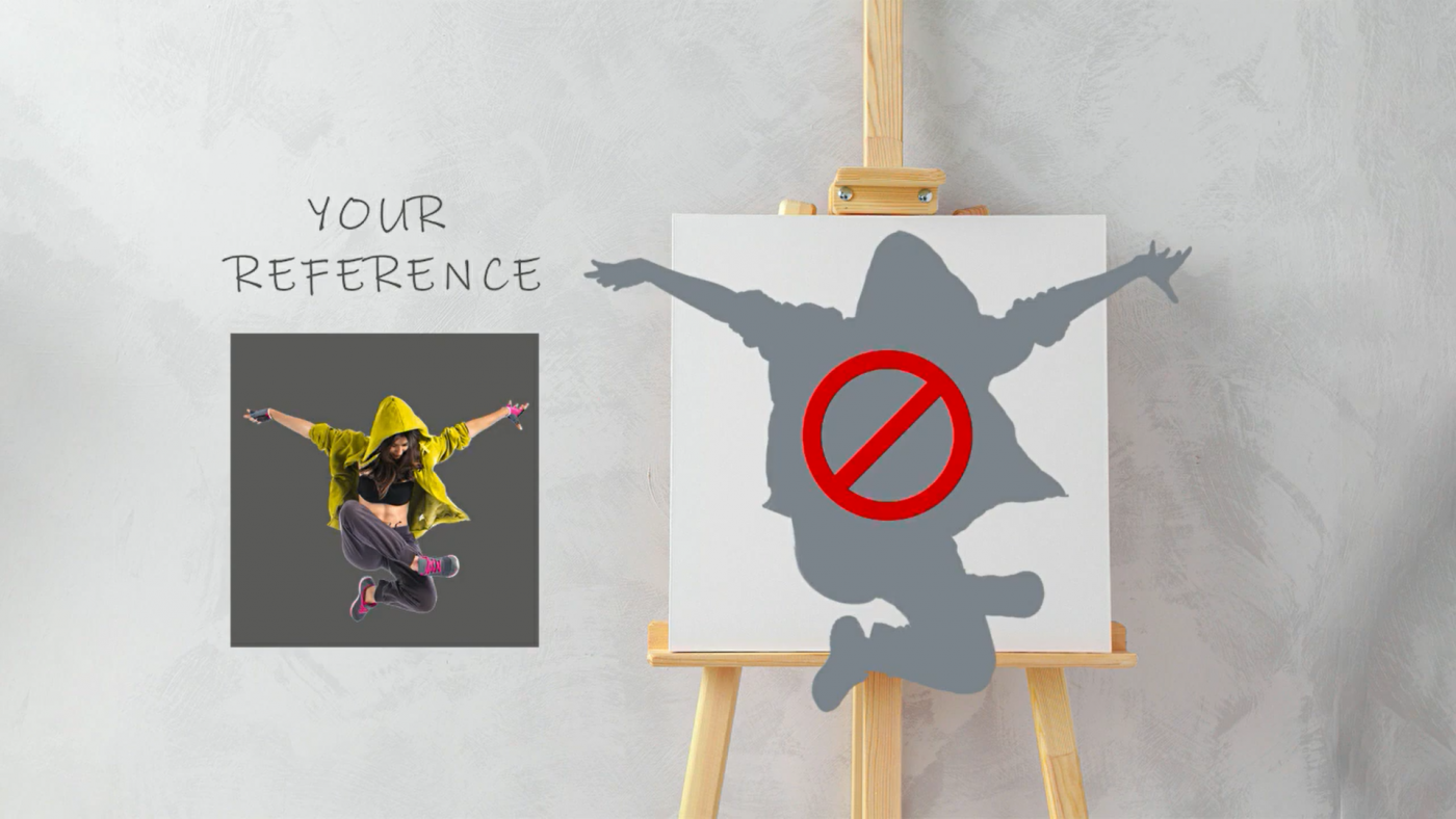 Image of a reference of a girl jumping next to an easel with the silhouette of the girl going over the edges of the canvas.