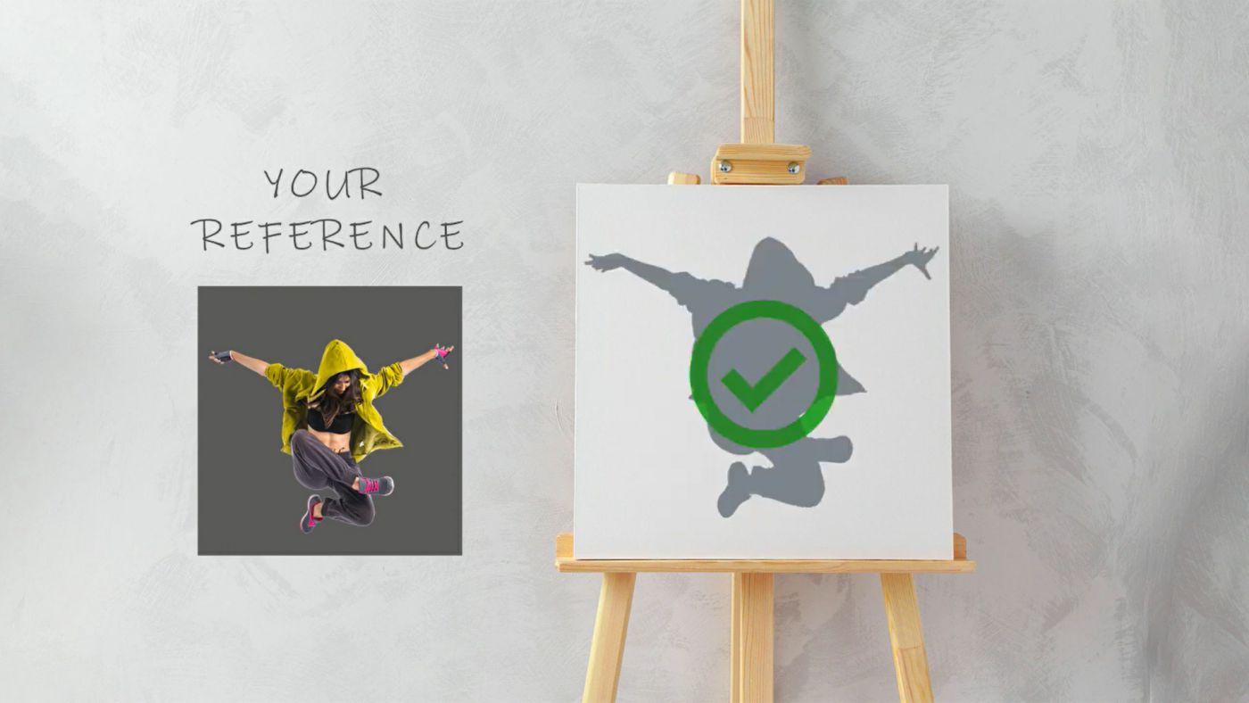 Image of a reference of a girl jumping next to an easel with the silhouette of the girl placed properly within the dimensions of the canvas.