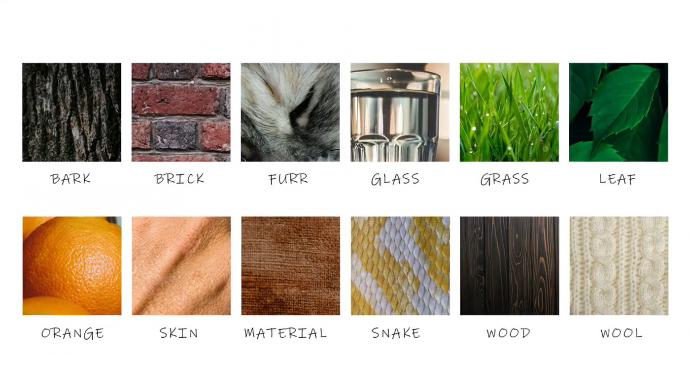 12 squares containing images of different texture such as bark,brick,furr,glass,grass,leaf,orange,skin,material,snake,wood and wool.