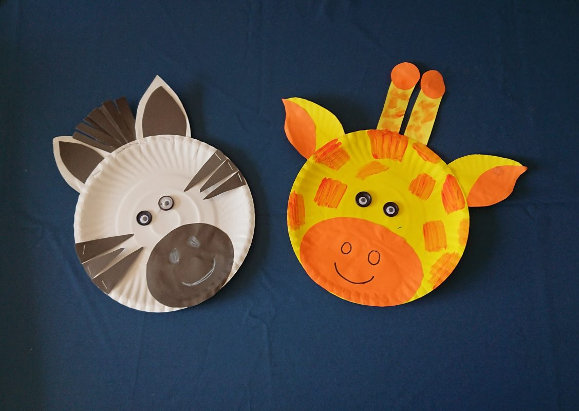 paper plate zebra and giraffe