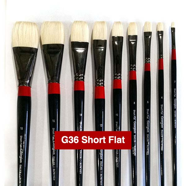 short flat georgian oil brushes