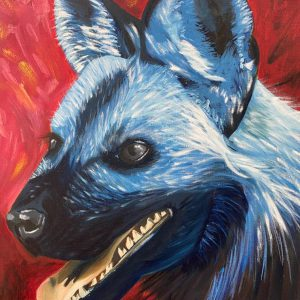 Blue WIld Dog Oil Painting
